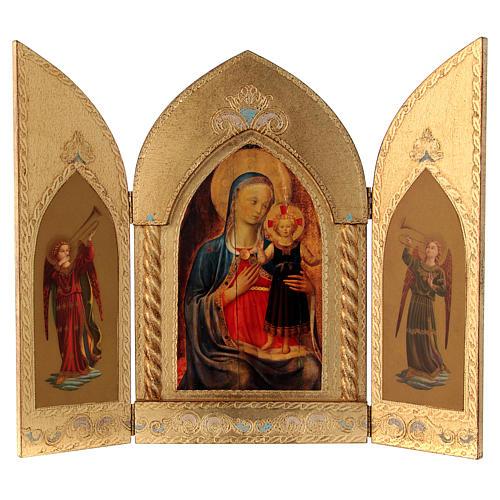 Trittico foglia oro Maria con Gesù e Angeli  1