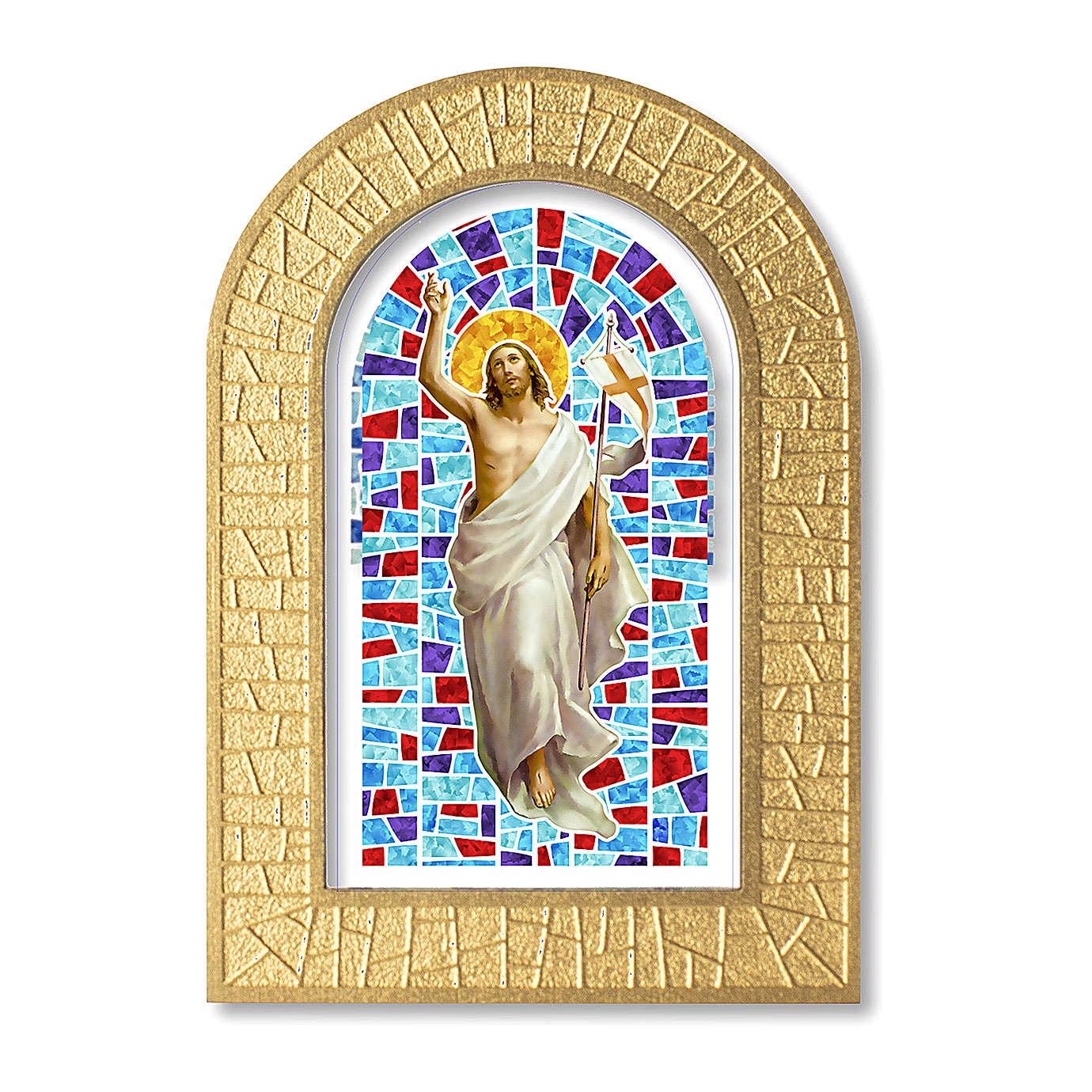Cornice con vetrata con Gesù Risorto 14x8,5 cm 3