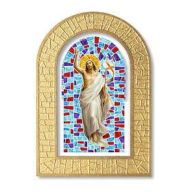Cornice con vetrata con Gesù Risorto 14x8,5 cm s1