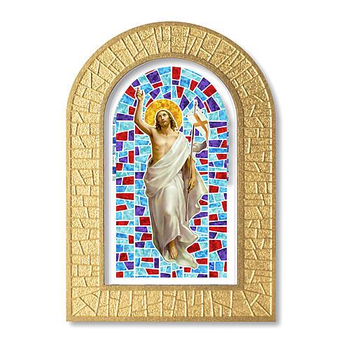 Cornice con vetrata con Gesù Risorto 14x8,5 cm 1