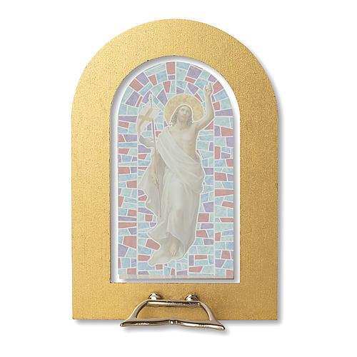 Cornice con vetrata con Gesù Risorto 14x8,5 cm 2