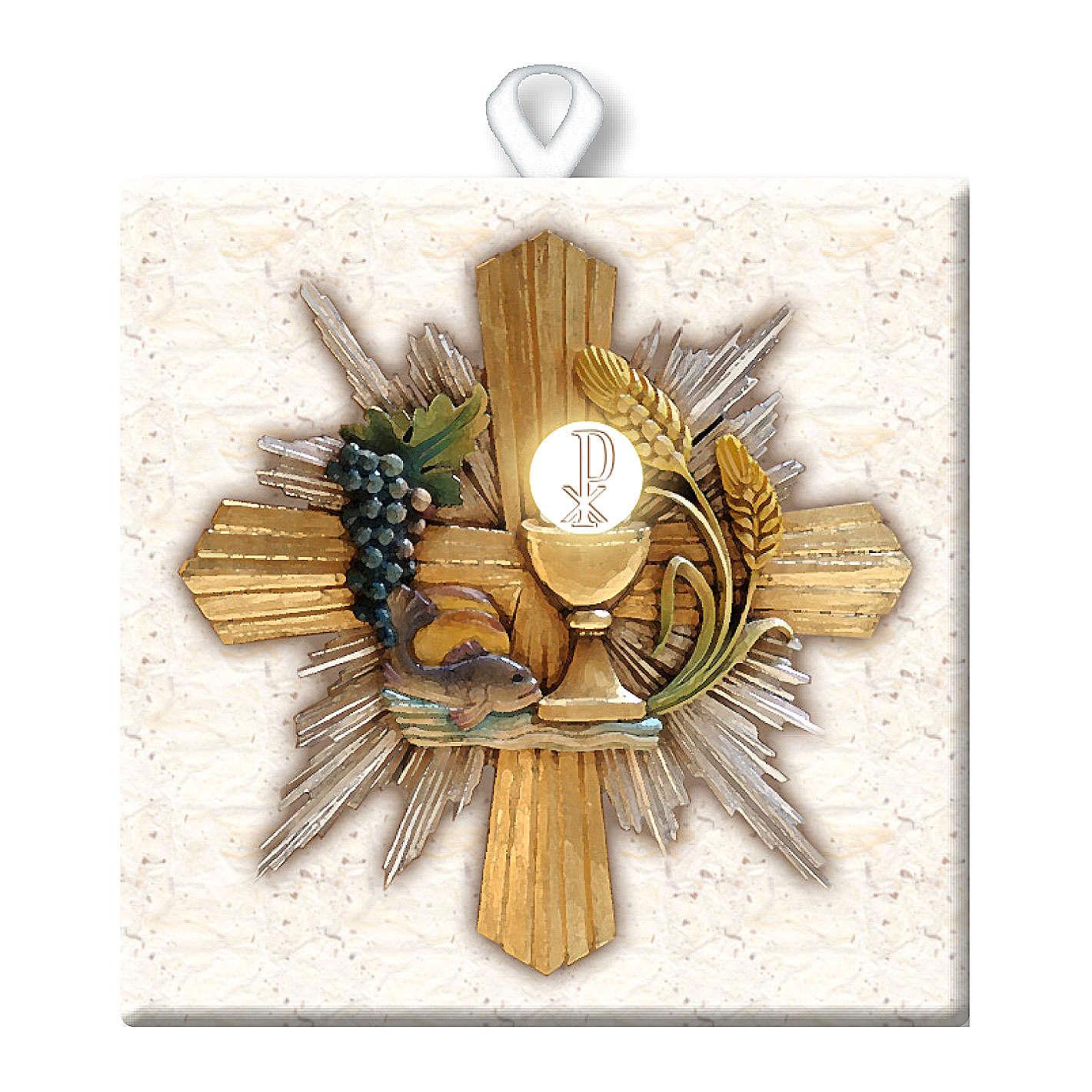 Piastrella ceramica stampata immagine Simboli Eucaristici 10x10 cm 3