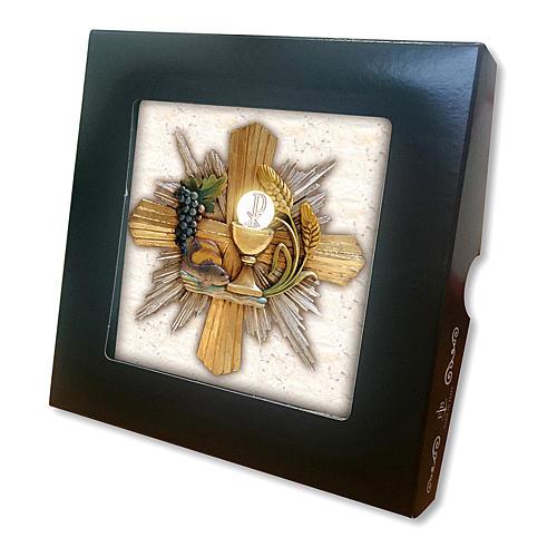 Piastrella ceramica stampata immagine Simboli Eucaristici 10x10 cm 2