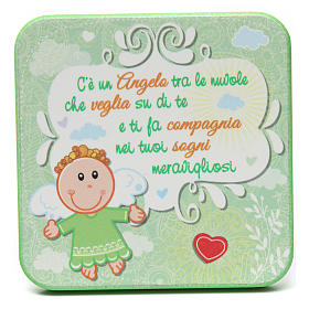 Quadretto in legno Angelo Custode Verde s1
