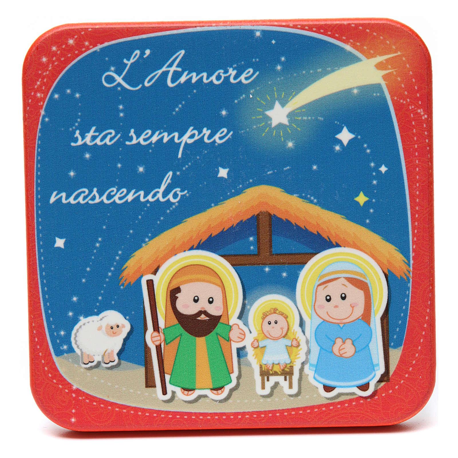 Quadretto in legno Santo Natale Rosso 3