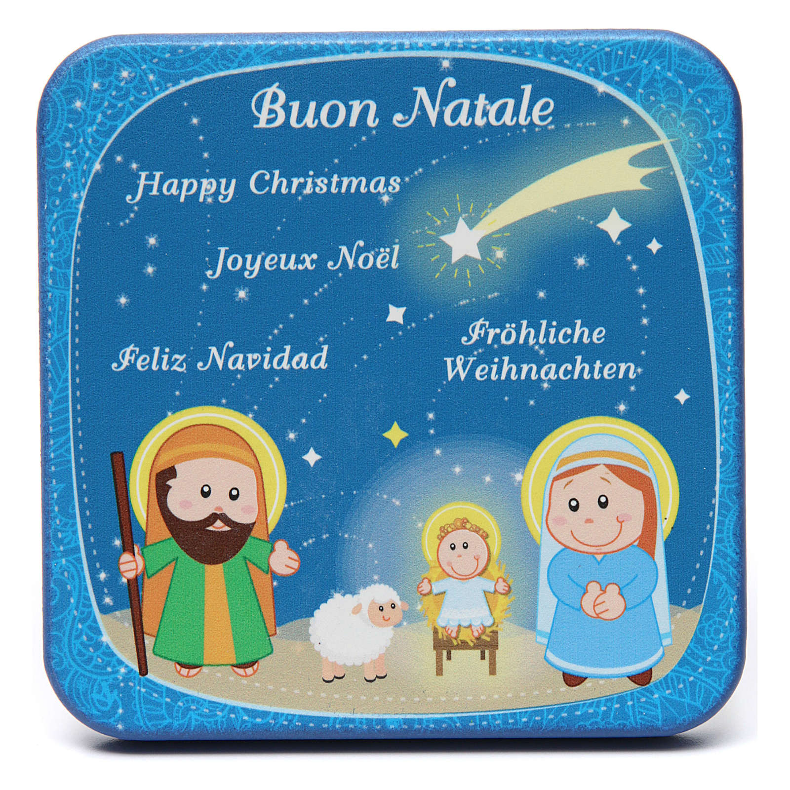 Blue wooden picture Holy Family 3