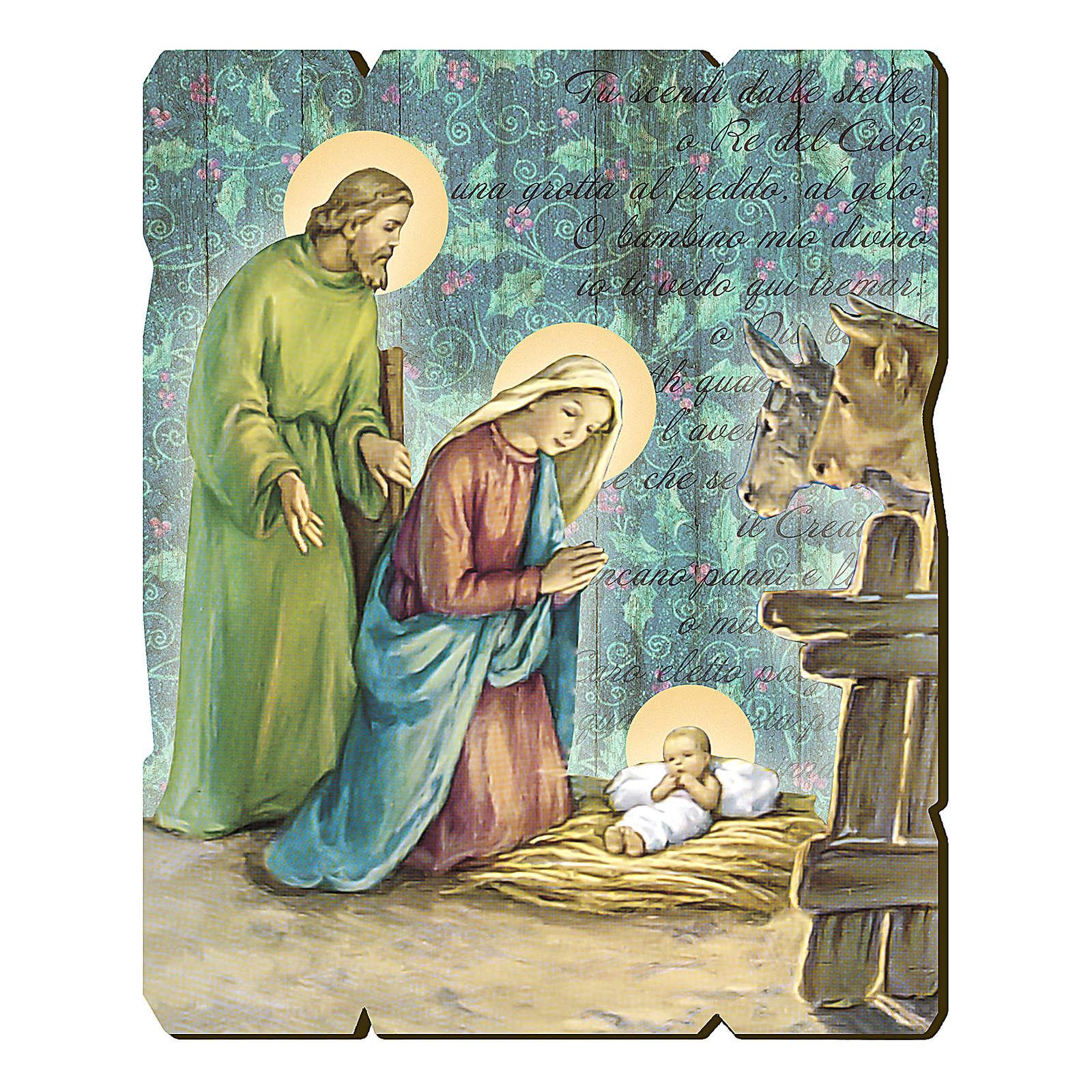 Cuadro de Madera Perfilada gancho en la parte posterior imagen Natividad 3