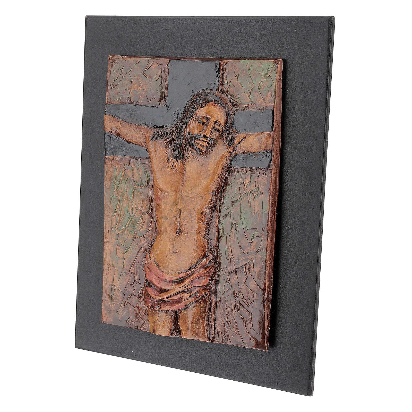 STOCK Gesù Crocifisso quadro in maiolica 35x25 cm 3