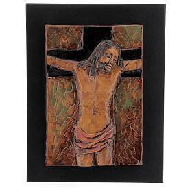 STOCK Gesù Crocifisso quadro in maiolica 35x25 cm s1