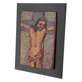 STOCK Gesù Crocifisso quadro in maiolica 35x25 cm s3