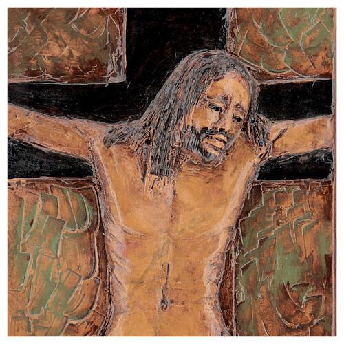 STOCK Gesù Crocifisso quadro in maiolica 35x25 cm 2