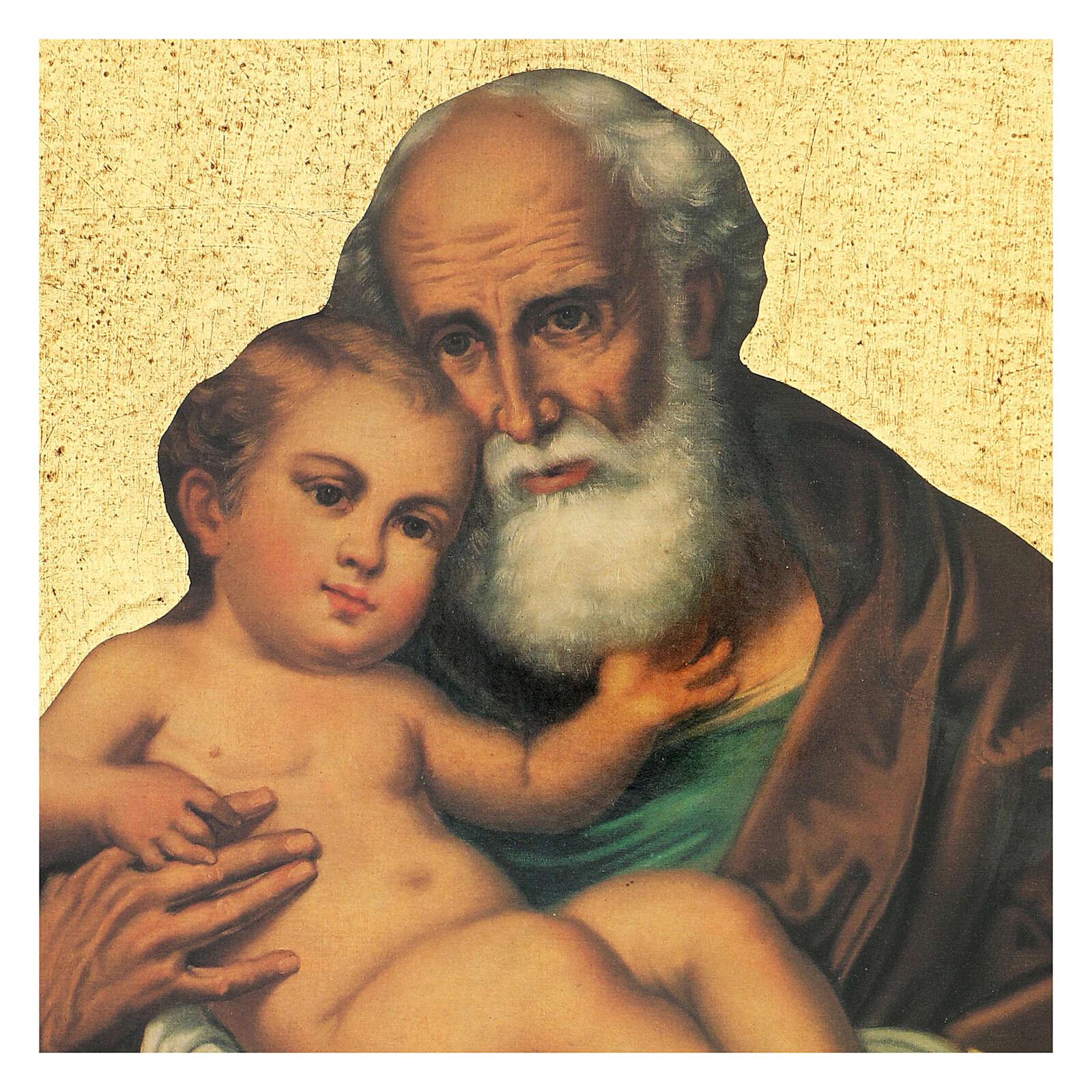 Cadre impression Saint Joseph avec l'Enfant Jésus 30x25 cm 3
