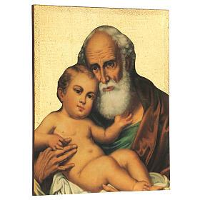 Quadro stampa San Giuseppe con bambino Gesù 30x25 cm s3