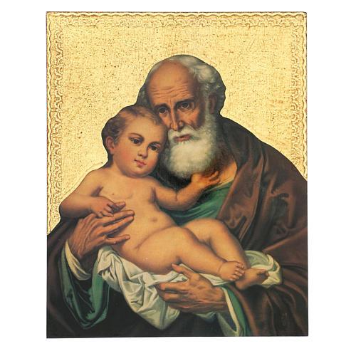 Quadro stampa San Giuseppe con bambino Gesù 30x25 cm 1