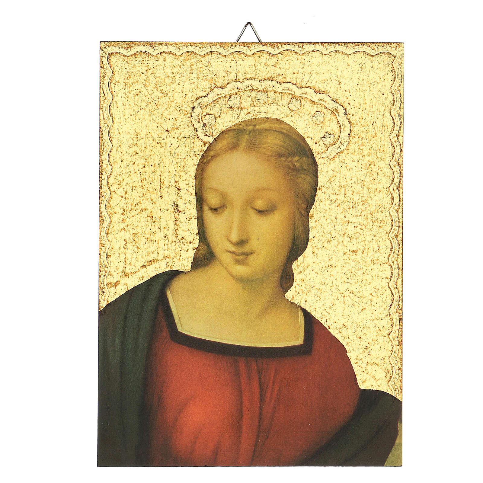 Cuadro impresa detalle Virgen del Jilguero 15x15 cm 3