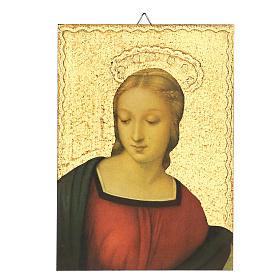 Quadro stampa dettaglio Madonna del Cardellino 15x15 cm s1