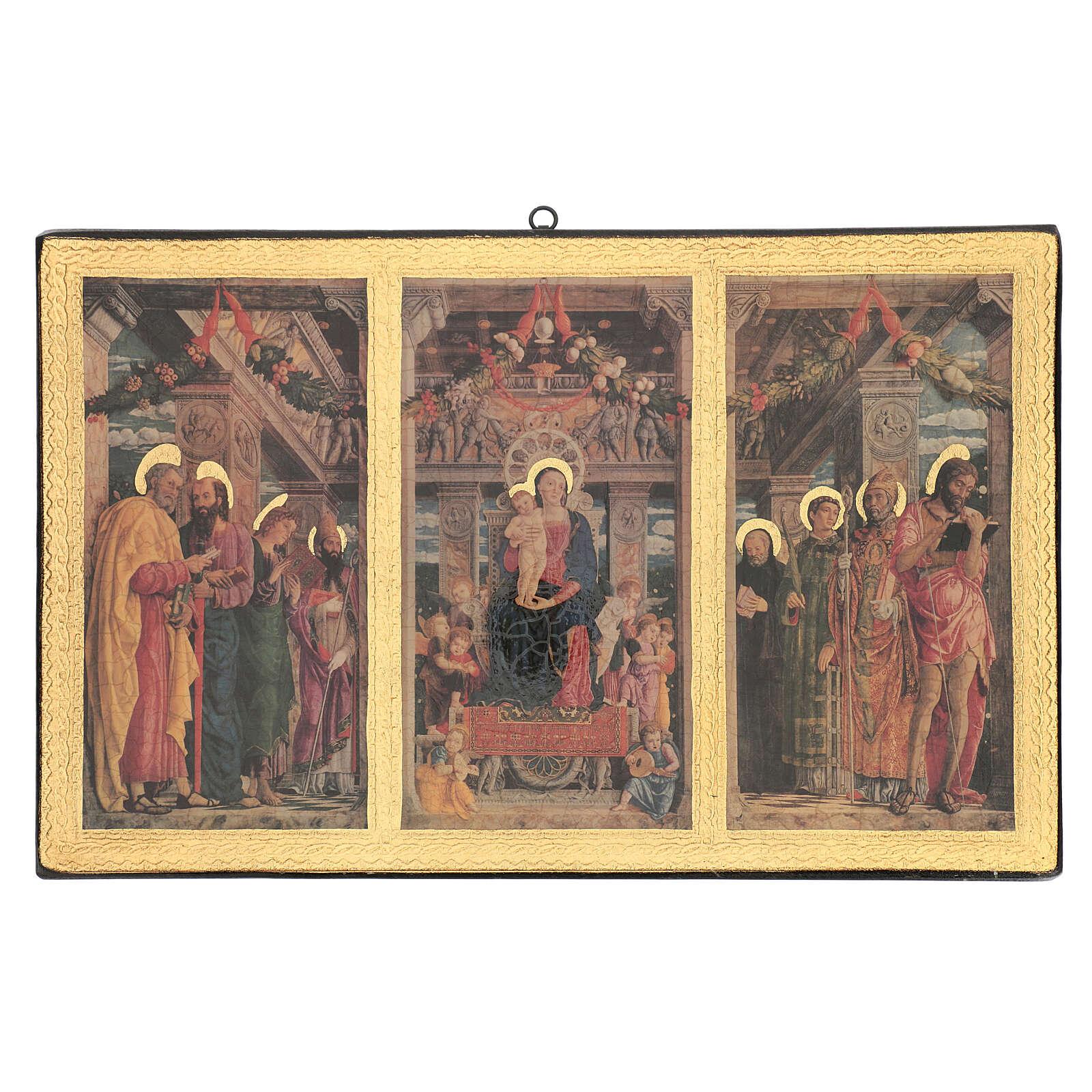 Cuadro impresa madera Tríptico Mantegna 35x55 cm 3