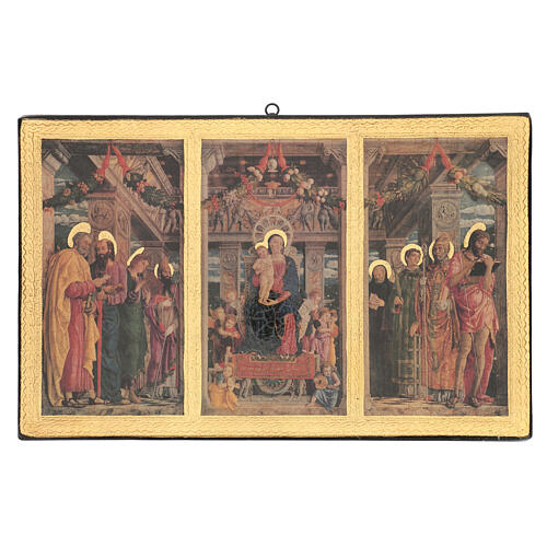 Cuadro impresa madera Tríptico Mantegna 35x55 cm 1