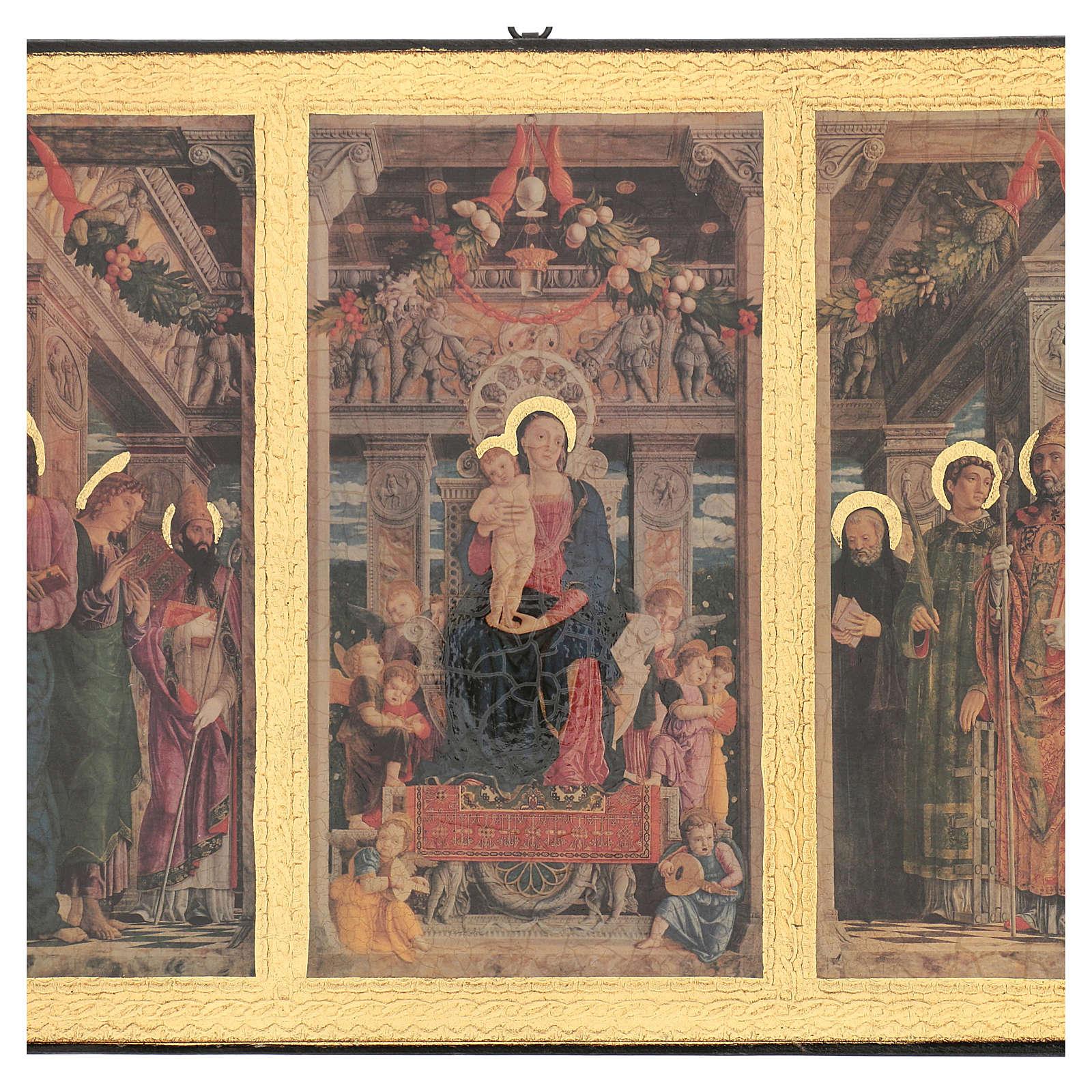 Quadro stampa legno Trittico Mantegna 35x55 cm 3