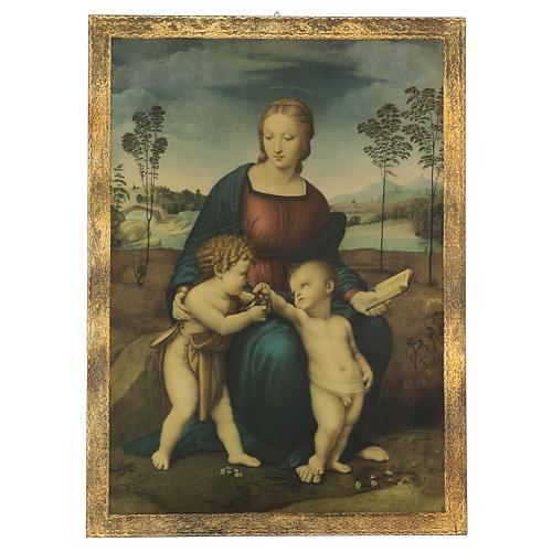 Quadro stampa su legno Madonna del Cardellino 60x44 cm 1