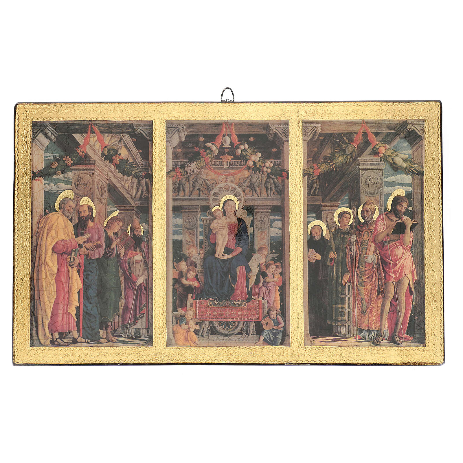 Print painting Mantegna Triptych on wood 43x70 cm 3