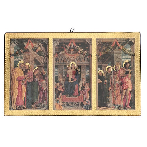 Print painting Mantegna Triptych on wood 43x70 cm 1