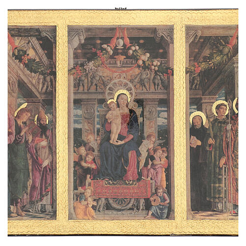 Print painting Mantegna Triptych on wood 43x70 cm 2