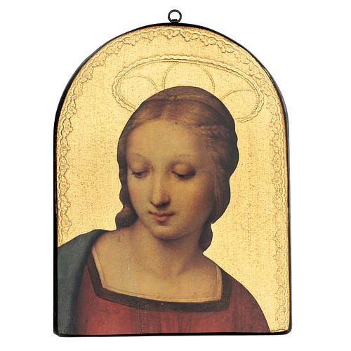 Quadro stampa su legno Madonna del Cardellino 35x25 cm 1