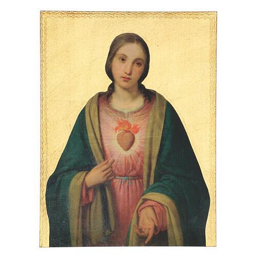 Painting of the Sacred Heart of the Virgin Mary 40x30 cm 1