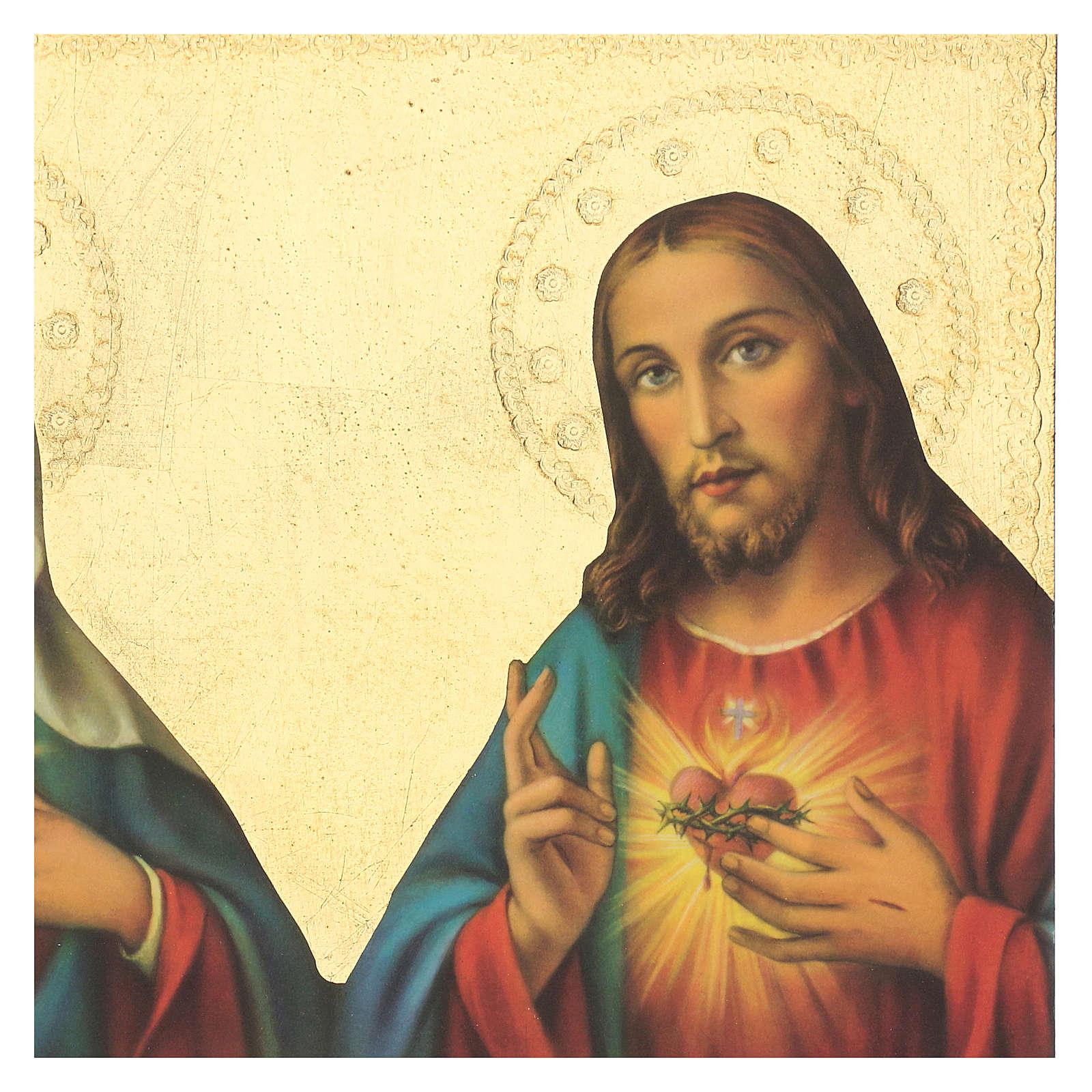 Quadro stampa Sacro Cuore Gesù e Maria 35x25 cm 3
