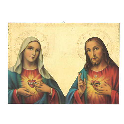 Immaculate Heart of Mary and Sacred Heart of Jesus wood print image 35x25 cm 1