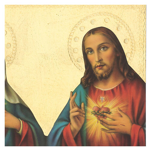 Immaculate Heart of Mary and Sacred Heart of Jesus wood print image 35x25 cm 2