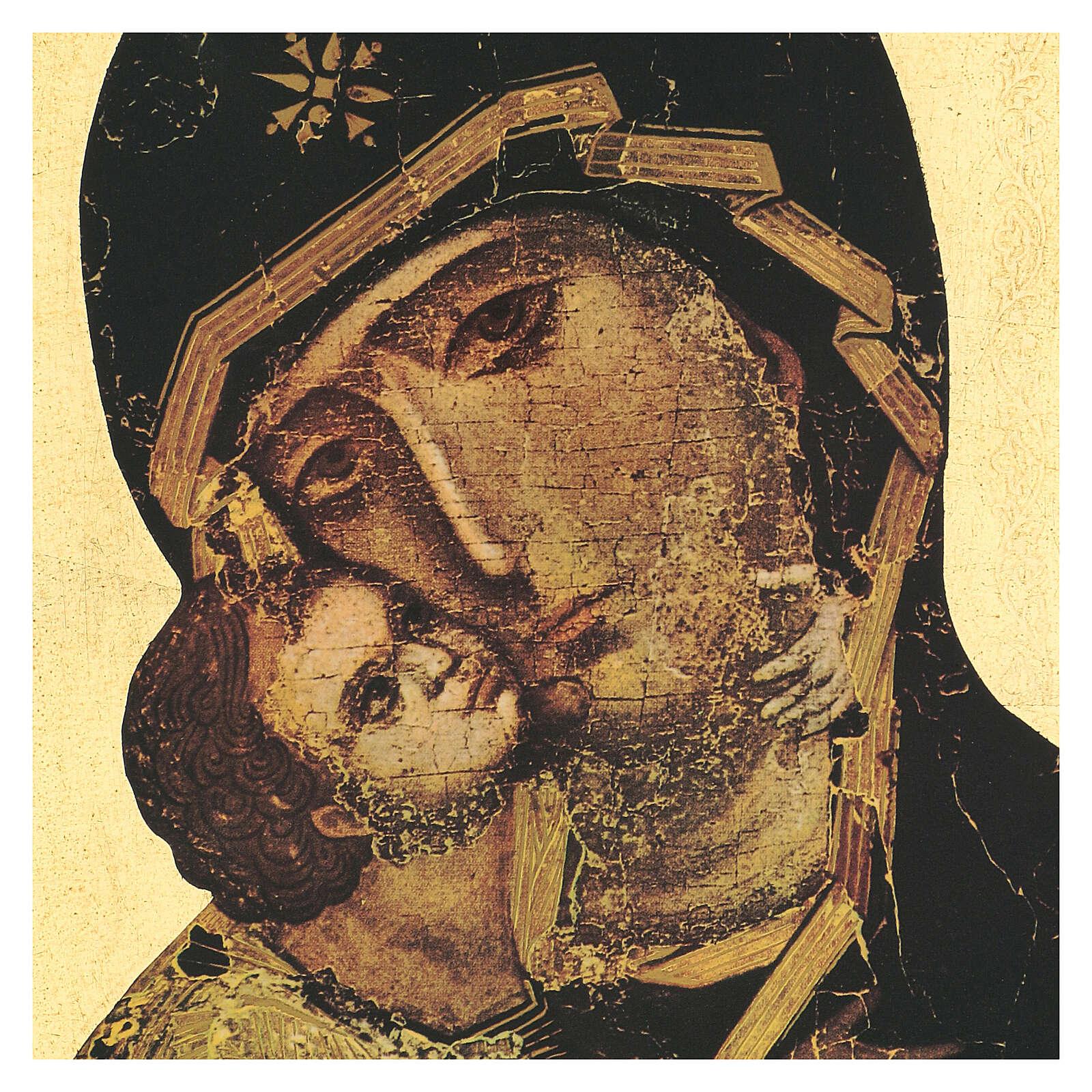 Cuadro impresa madera Virgen de Vladimir 35x25 cm 3