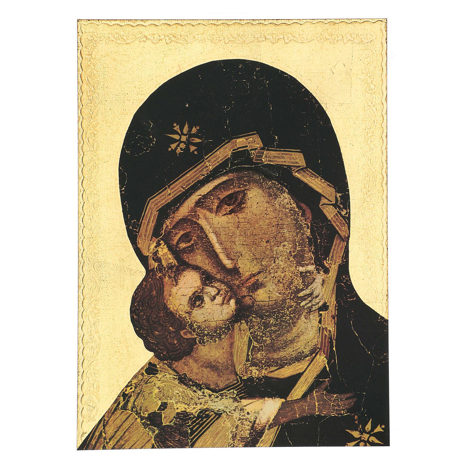 Quadro stampa in legno Madonna di Vladimir 35x25 cm 3