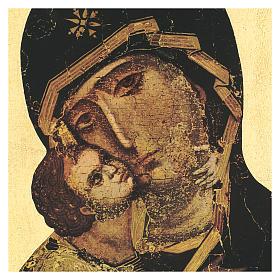 Quadro stampa in legno Madonna di Vladimir 35x25 cm s2