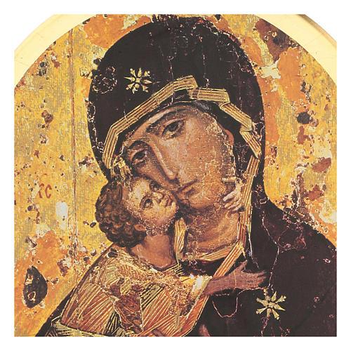 STOCK Stampa in legno Madonna di Vladimir 35x25 cm 2