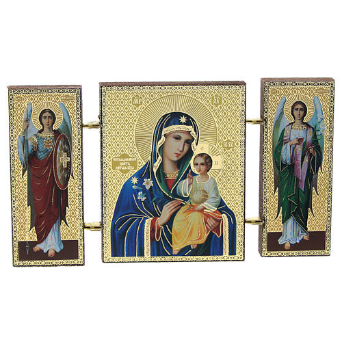 Triptych with icon of the Virgin Mary with lily, made in Russia 1