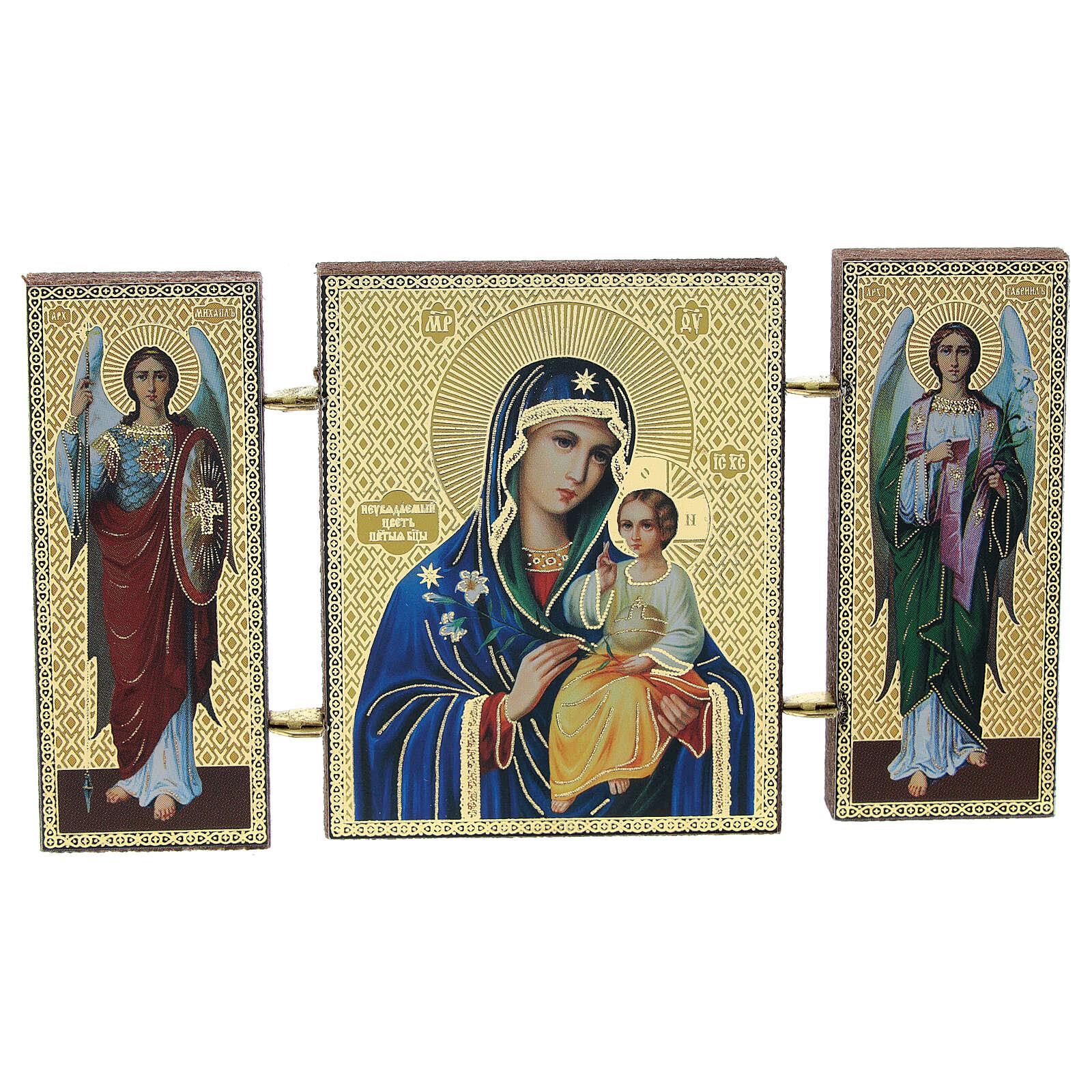 Tríptico russo Nossa Senhora com lírio 9,5x5,5 cm 3