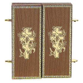 Tríptico russo Nossa Senhora com lírio 9,5x5,5 cm s4