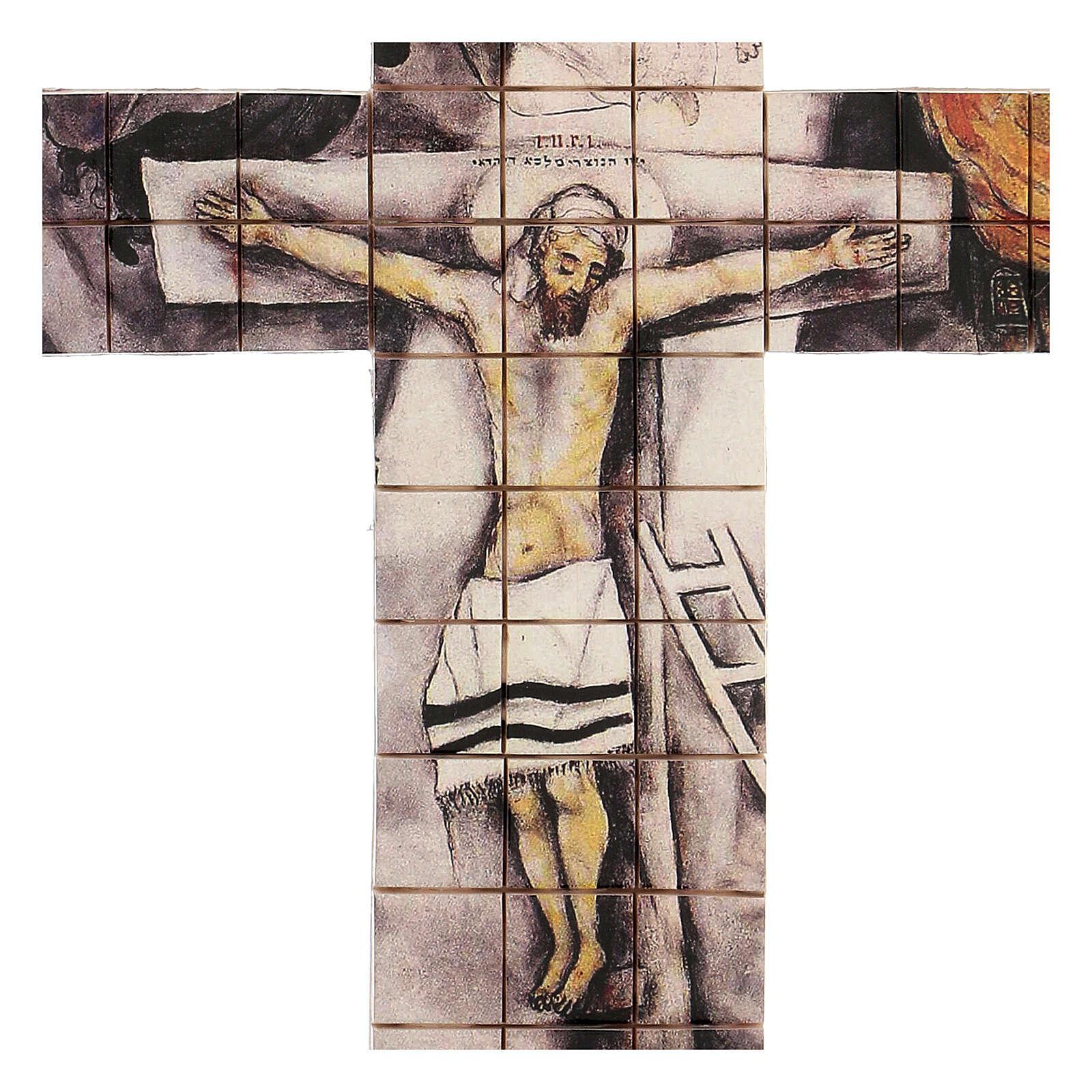 Croce mosaico terracotta 30x25 cm 3