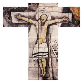 Croce mosaico terracotta 30x25 cm s2
