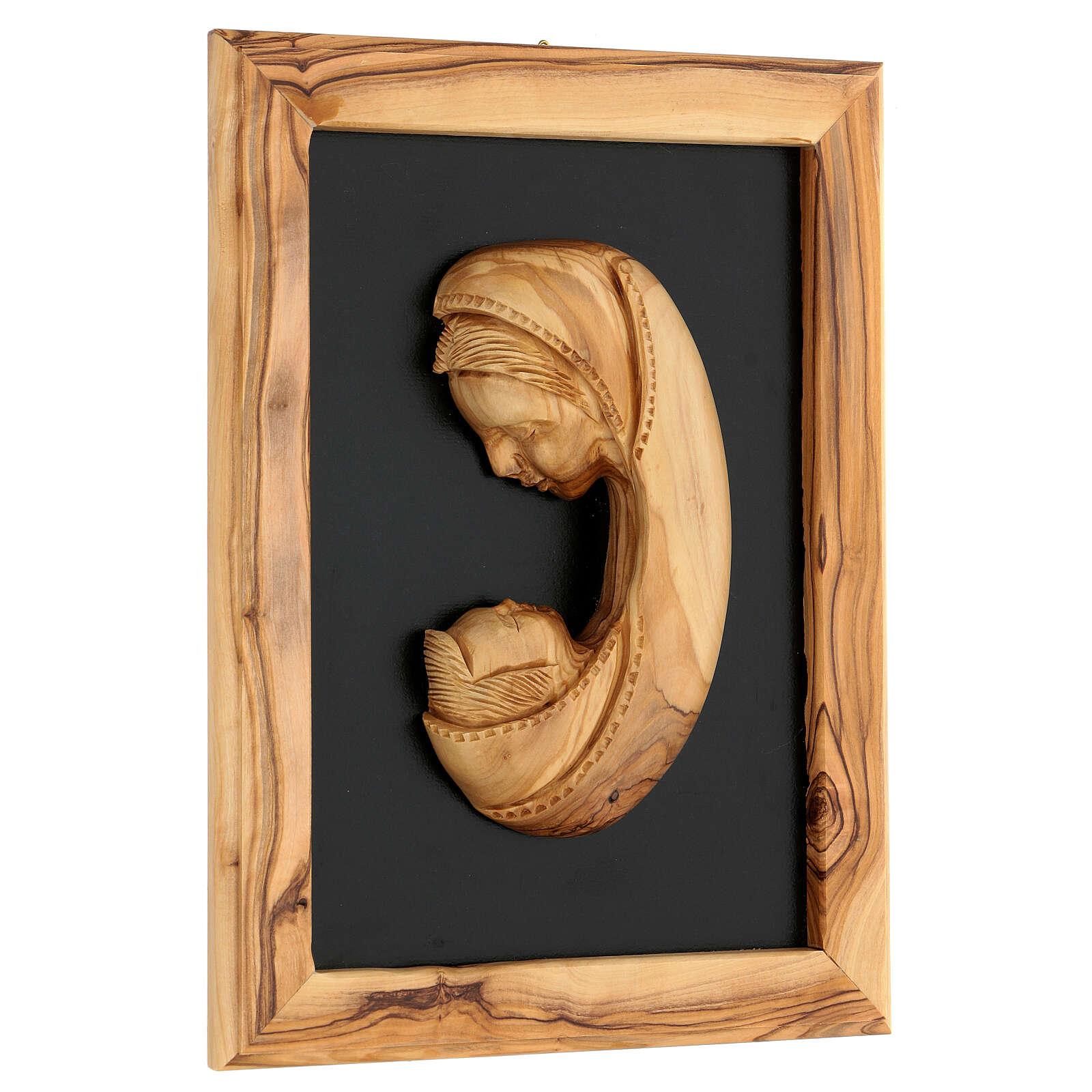 Marco María relieve madera olivo Belén 25x18 cm 3