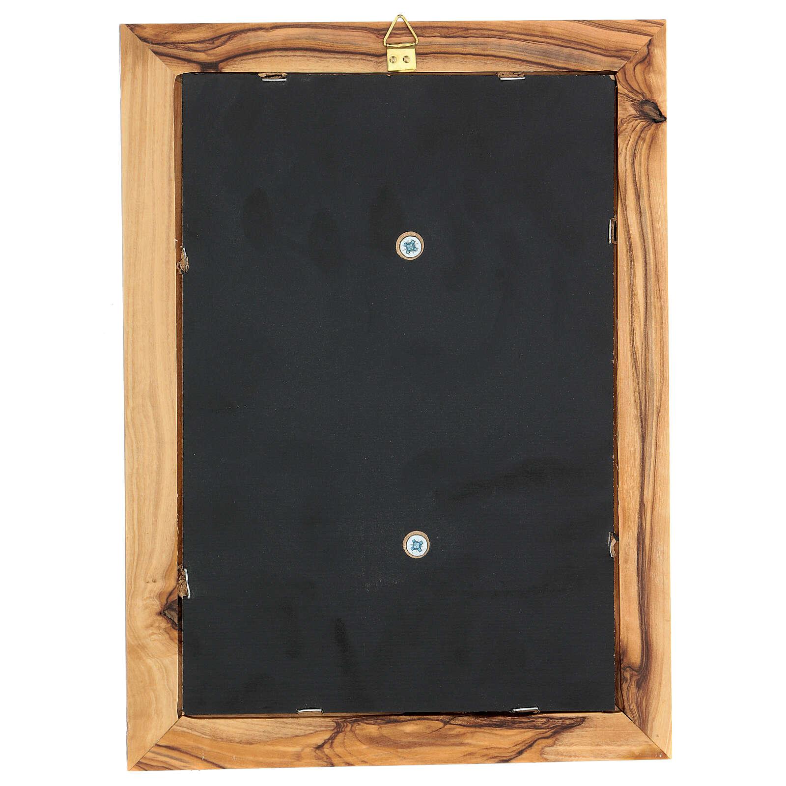 Cornice Maria rilievo legno ulivo Betlemme 25x18 cm 3