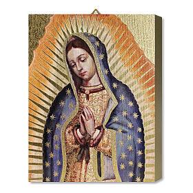 Tableau bois Notre-Dame de Guadalupe avec boîte cadeau 25x20 cm