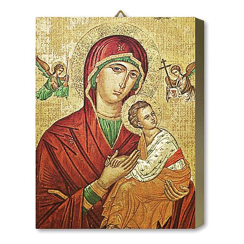 Tableau bois Notre-Dame du Perpétuel Secours avec boîte cadeau 25x20 cm