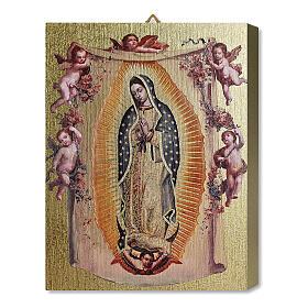 Tableau bois Notre-Dame de Guadalupe avec anges boîte cadeau 25x20 cm