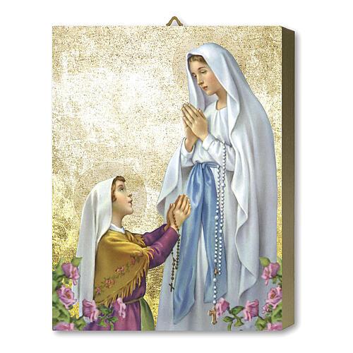 Tableau bois Apparition Notre-Dame de Lourdes avec boîte cadeau 25x20 cm