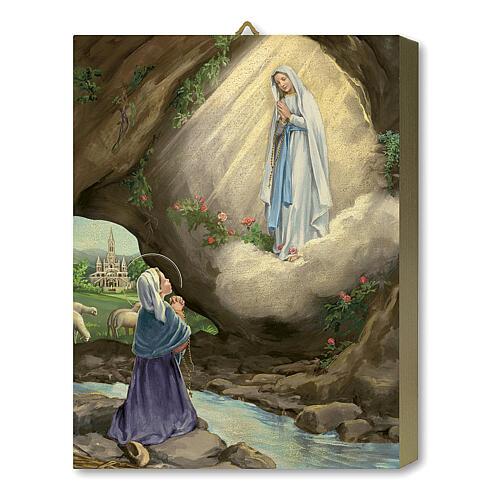 Tableau bois Apparition Notre-Dame de Lourdes avec Bernadette avec boîte cadeau 25x20 cm