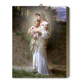 Notre-Dame de la Divine Innocence tableau en bois boîte cadeau 25x20 cm