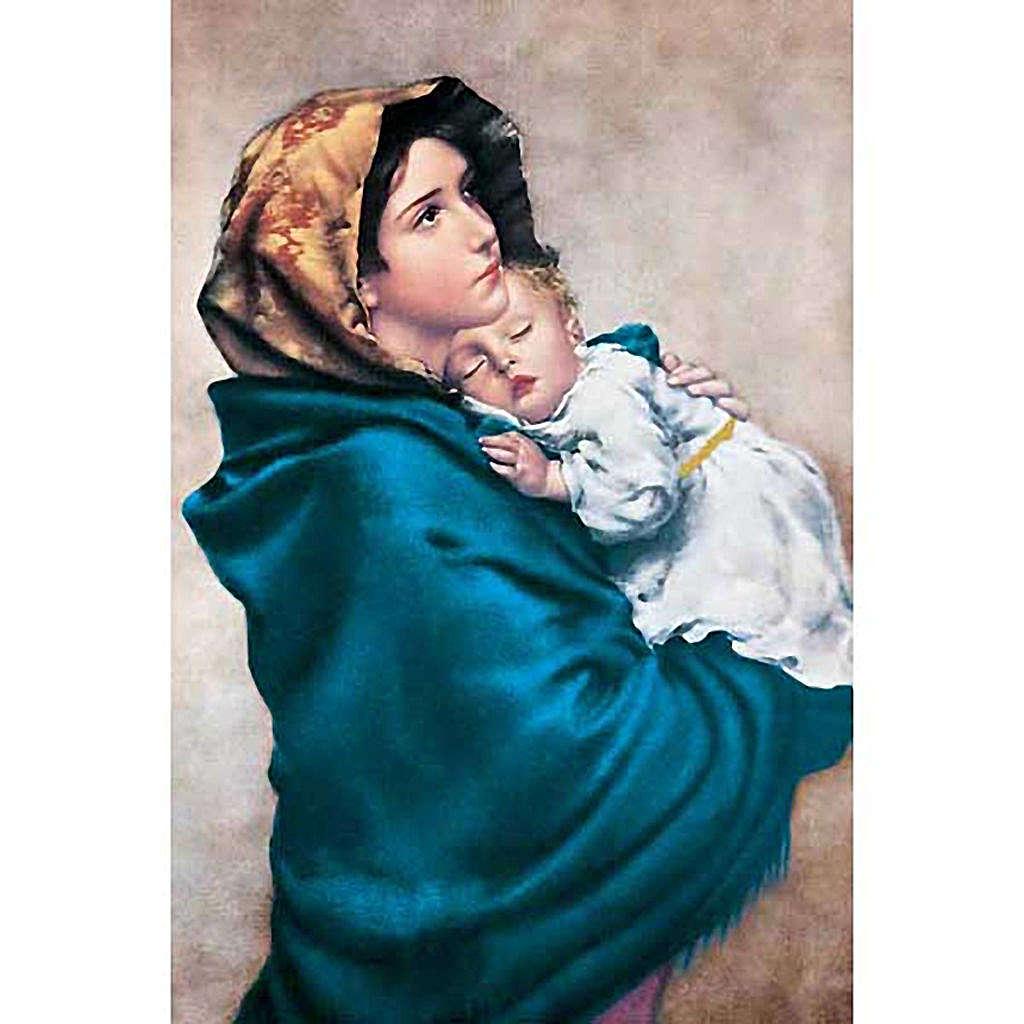 Estampa Virgen del Ferruzzi fondo beis 3